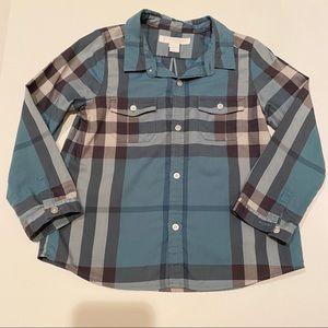 BURBERRY Kids Blue Check Button Up Shirt